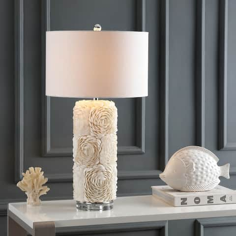 "Rosette 28.5"" Seashell/Resin/Crystal Table Lamp, Cream by JONATHAN Y"