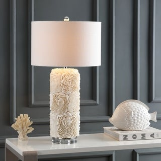 "Link to Rosette 28.5"" Seashell/Resin/Crystal Table Lamp, Cream by JONATHAN  Y Similar Items in Table Lamps"