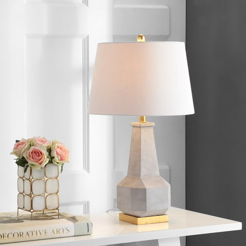 """Ariel 26.5"""" Cement LED Table Lamp, Gray by JONATHAN Y"""