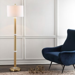 """Gregory 60.5"""" Metal/Marble LED Floor Lamp, Brass Gold/White by JONATHAN Y"""