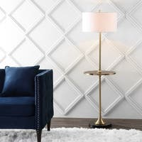 "Luce 59"" Metal/Wood LED Floor Lamp with Table, Black/Brass  by JONATHAN  Y"