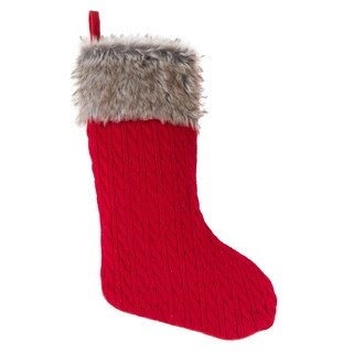 Faux Fur Trimmed Christmas Stocking