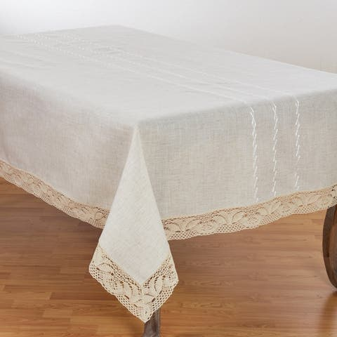 Poly Blend Tablecloth with Embroidered Lace Border