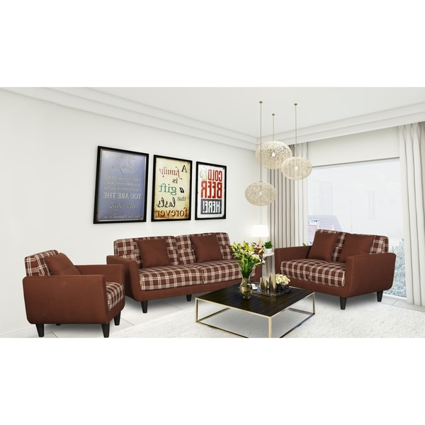Grace Mid Century Plaid Linen Fabric Upholstered Sofa Set