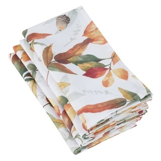 Polyester Napkins With Fall Leaf Design (Set of 4)