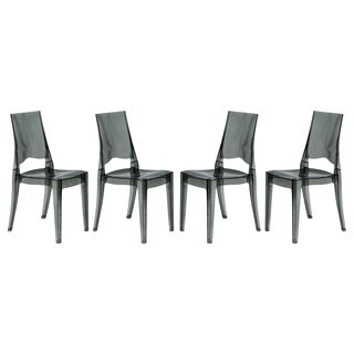 LeisureMod Coral Black Lucite Stackable Dining Side Chair Set of 4