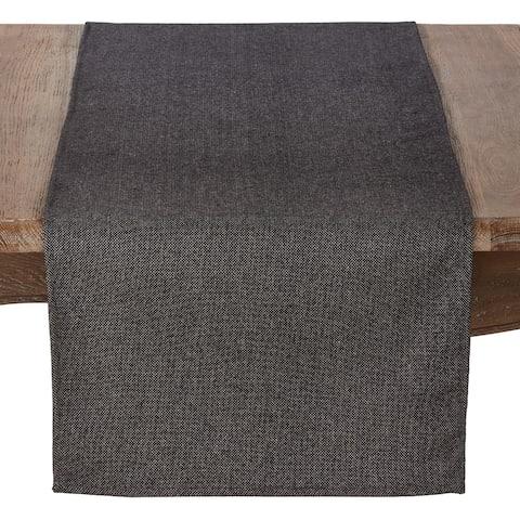 Wool Blend Table Runner With Herringbone Design