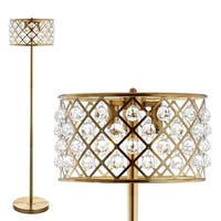 "Elizabeth 60"" Crystal/Metal LED Floor Lamp, Brass Gold/Clear by JONATHAN  Y"