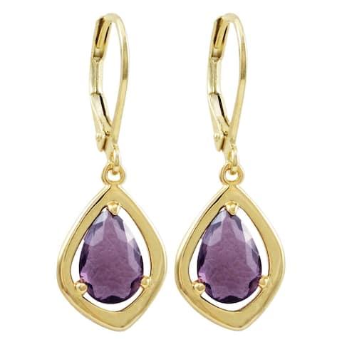 Luxiro Gold Finish Sliced Glass Teen's Dangling Earrings