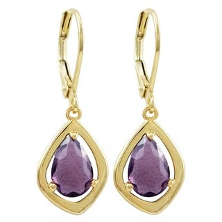 Luxiro Gold Finish Sliced Glass Teen's Dangling Earrings