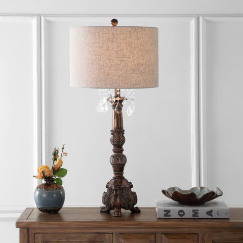 """Carlisle 33.5"""" Resin/Acrylic LED Table Lamp, Antique Brown by JONATHAN Y"""