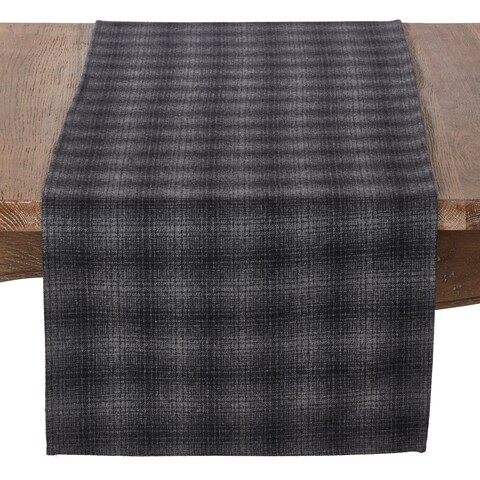 Wool And Poly Blend Table Runner With Plaid Design