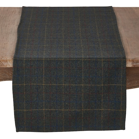 Wool And Poly Blend Table Runner With Moss Plaid Pattern