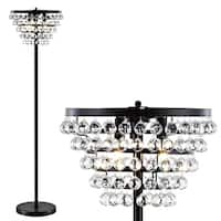 """Jemma 60"""" Crystal/Metal LED Floor Lamp, Bronze / Clear by JONATHAN  Y"""