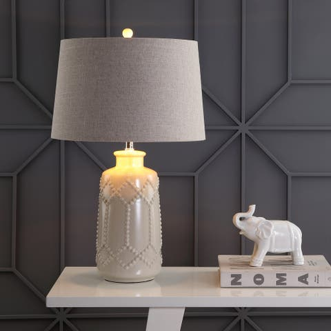 """Alice 26"""" Ceramic LED Table Lamp, Cream by JONATHAN Y"""