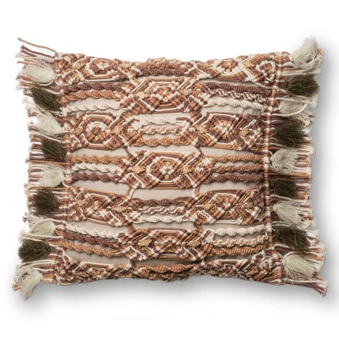 Macrame Boho Beige/ Brown Cotton 18-inch Pillow Cover with Fringe