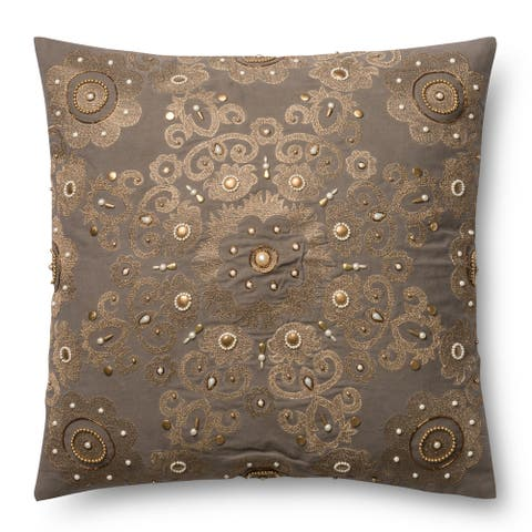 Embroidered Grey/ Gold Beaded Damask 22-inch Pillow Cover