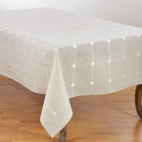 Embroidered Check Design Poly Blend Tablecloth