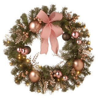 """28"""" Decorated Pine Wreath with Battery Operated LED Lights"""