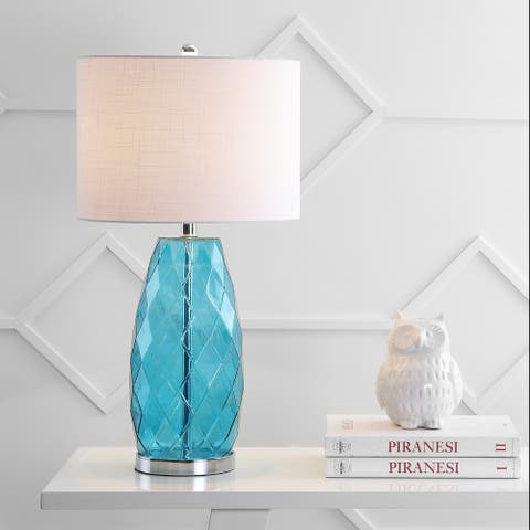 """Juliette 26.5"""" Glass/Metal LED Table Lamp, Moroccan Blue by JONATHAN Y"""
