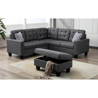 Modern Linen Fabric Sectional Sofa With Ottoman