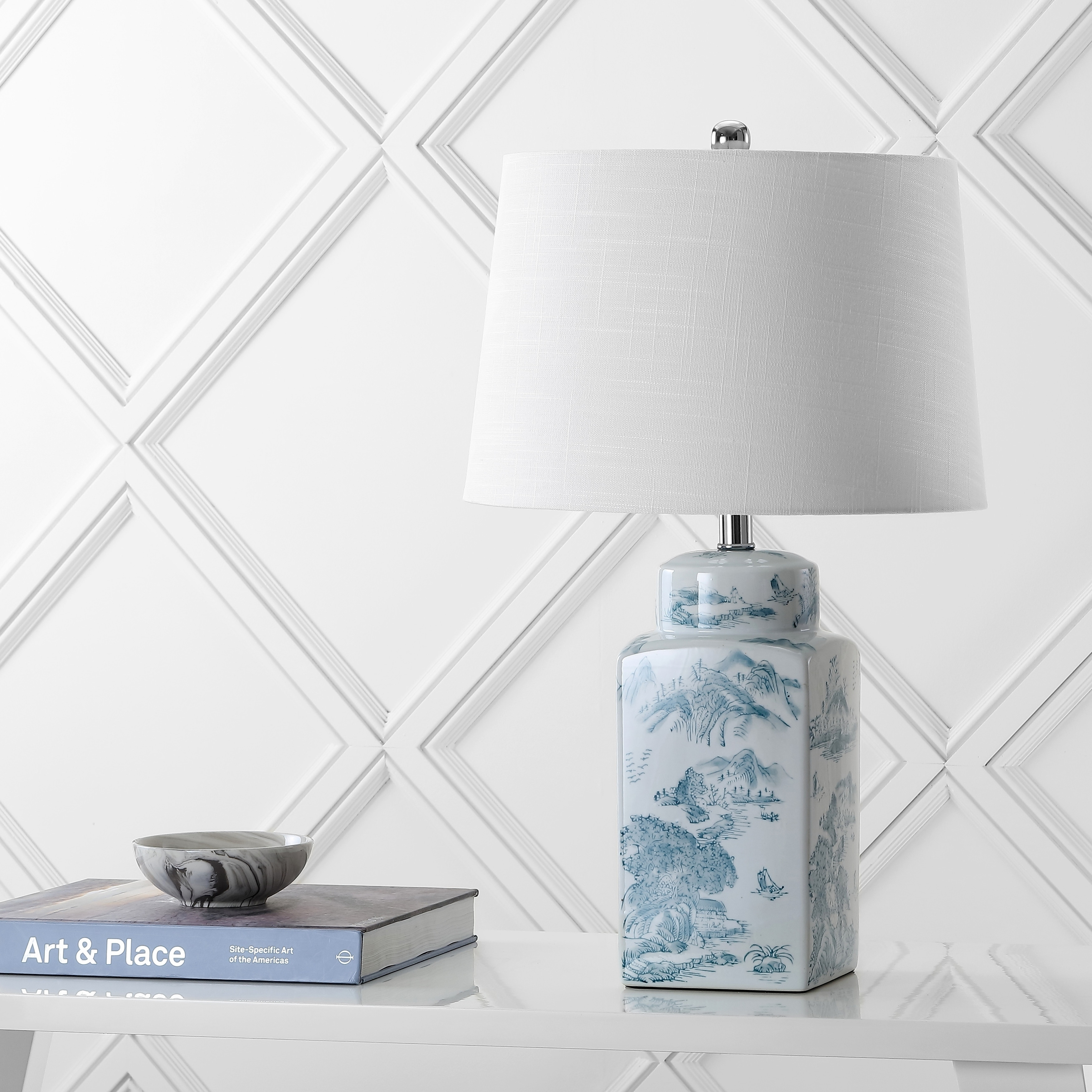 Audrey 24 5 Chinoiserie Led Table Lamp Blue White By Jonathan Y
