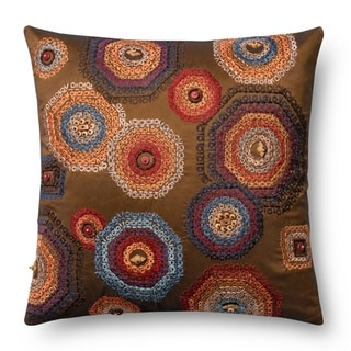 Embroidered Brown/ Multi Beaded 18-inch Throw Pillow