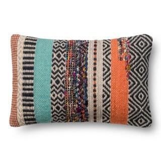 Woven Boho Rust/ Grey Wool 13 x 21 Throw Pillow