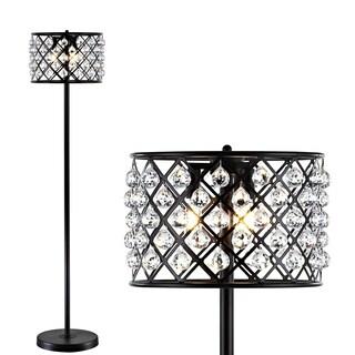 "Elizabeth 60"" Crystal/Metal LED Floor Lamp, Bronze/Clear by JONATHAN Y"