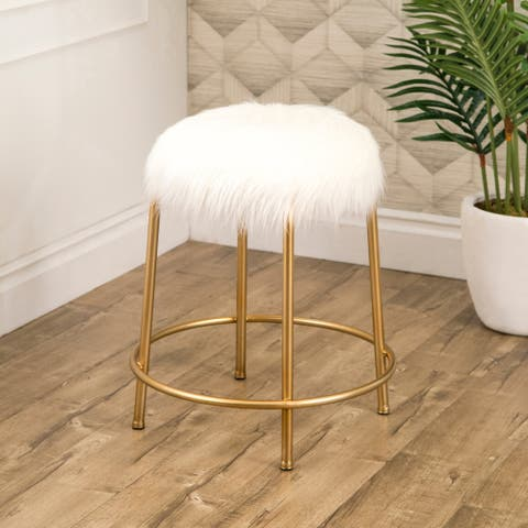 Abbyson Keeley Gold Faux Fur Stool