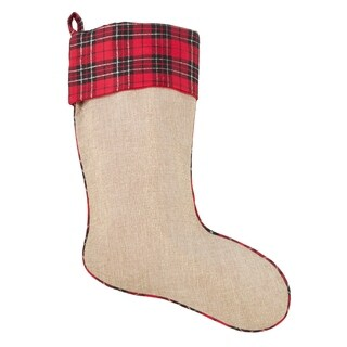 Large Christmas Stocking With Tartan Plaid Design