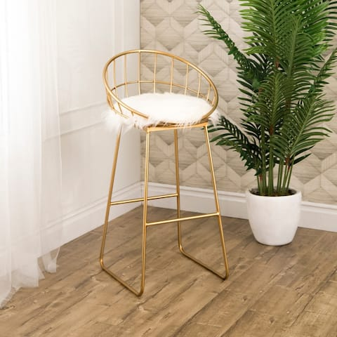 Silver Orchid Banks Faux Fur 37.5-inch Bar Stool
