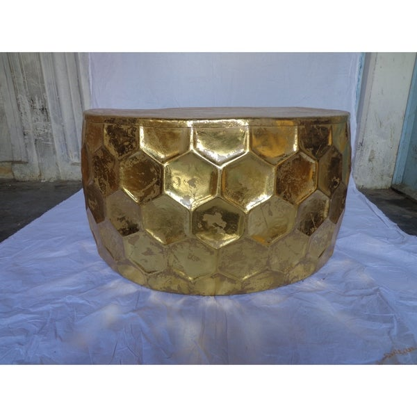 Git Mit Gold Leaf Finish Round Large Hammered Coffee Table