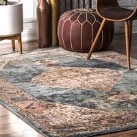 "nuLOOM Blue Contemporary Persian Chay Aztec Cameo Framing Geo Border Area Rug - 5' 3"" x 7' 8"""
