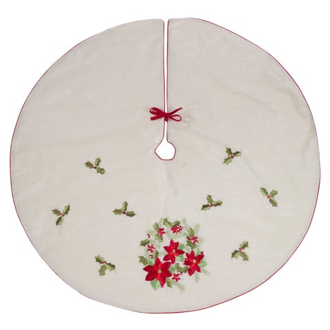 Poly Blend Christmas Tree Skirt With Poinsettia And Holy Design
