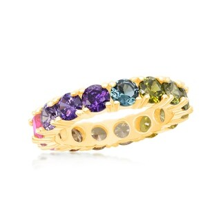 La Preciosa Sterling Silver 14K Gold Overlay Rainbow CZ Eternity Band Ring