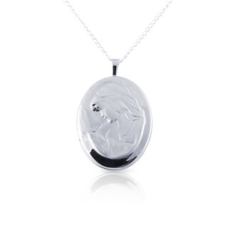 Sterling Silver Mother & Child Oval Photo Locket Pendant with Chain - silver / 20mm