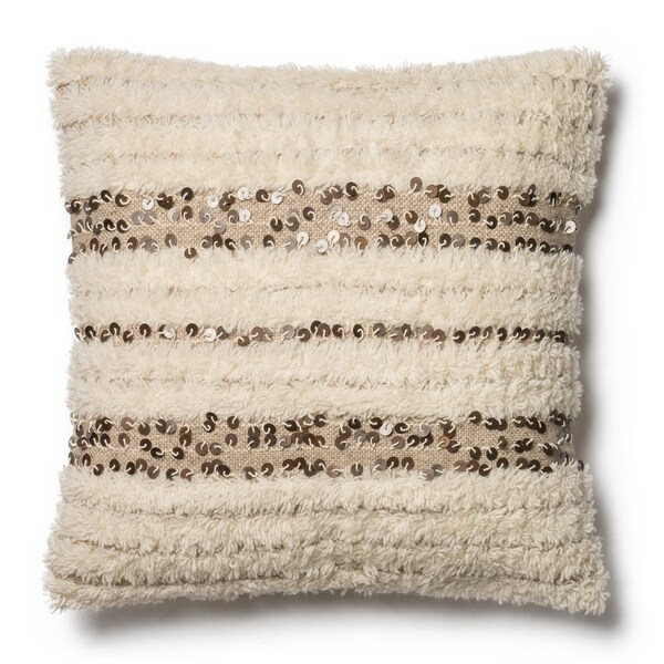 Shop Shag Ivory Sequin Wool Cotton 22 Inch Pillow Cover