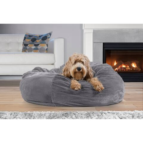 FurHaven Pet Bed Round Plush Ball Dog Bed