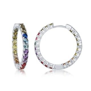 La Preciosa Sterling Silver or 14K Gold Overlay Rainbow CZ 30mm Hoop Earrings