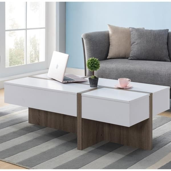 Furniture Of America Lexa Modern White Storage Coffee Table On Sale Overstock 22843403