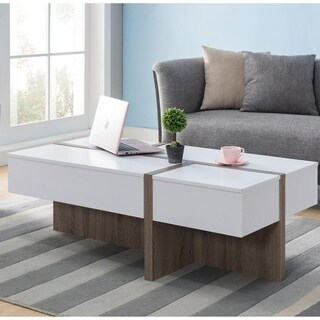 Furniture of America Lexa Modern White and Brown Wood Finish Coffee Table