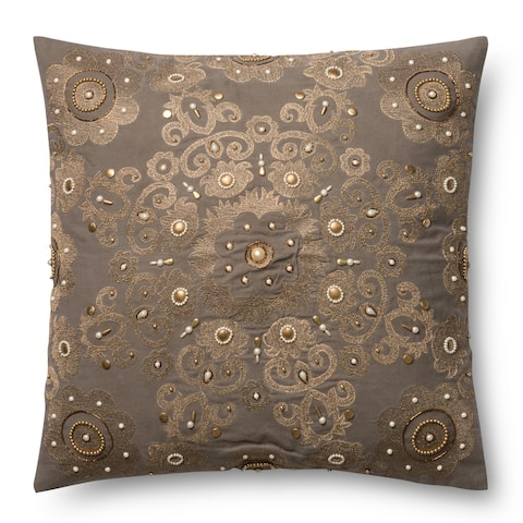 Embroidered Grey/ Gold Beaded Damask 22-inch Throw Pillow