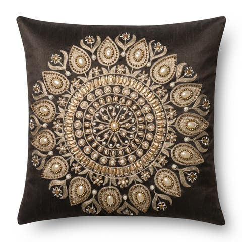 Beaded Brown/ Gold Embroidered Medallion 18-inch Pillow Cover