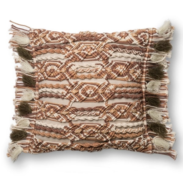 Macrame Boho Beige/ Brown Cotton 18-inch Throw Pillow with Fringe. Opens flyout.