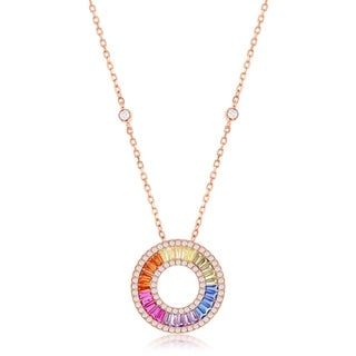 La Preciosa Sterling Silver Rose Gold Plated Rainbow Baguette CZ Open Circle 16+2'' Necklace