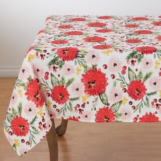 "100% Linen Tablecloth With Beautiful Floral Design - 60"" x 60"""