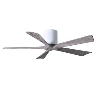 Matthews Fan Company Irene-H 5-blade 52-inch Gloss White Flush Mount Paddle Fan with Barn Wood Tone Blades
