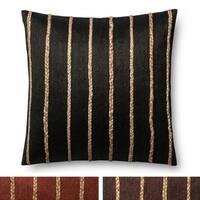 Modern Braided Stripe Jute/ Cotton 22-inch Throw Pillow