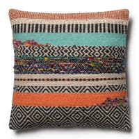 Woven Boho Rust/ Grey Wool 22-inch Pillow Cover